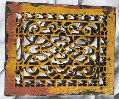 Antique Cast Iron Floor Heat Grate Architectural Detail Yellow 9.5 x 11.5
