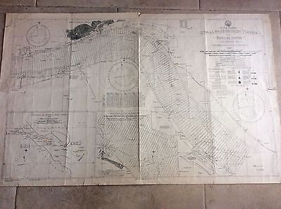 Vintage 1954 Map Chart Stallingborough to Barton Haven River Humber Hull Grimsby