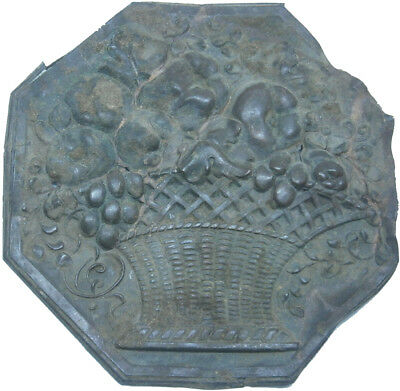 Unknown Fragment Basket with flowers Old Europe Metal Bronze Vintage