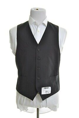 DKNY Mens Classic Fit Black Tonal Striped 5 Button 100% Wool Suit Vest