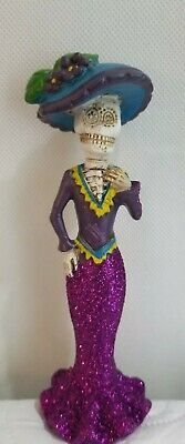 Day of the Dead Lady Skeleton in Purple Dress Figurine Dia de Los Muertos New