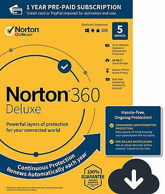 NEW Norton 360 Deluxe – Antivirus software for 5 Devices with Auto Renewal - 12M