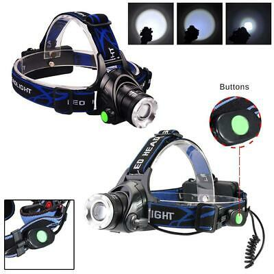 12000LM T6 LED Zoom Headlamp Head Torch Headlight+18650 Batteries + Charger DI