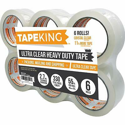 Packing Tape Refill 6 Rolls Ultra Clear, Heavy Duty, Premium Sealing Cartons