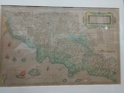 Rare & Original 1598 Abraham Ortelius Fine Hand Colored Map of Tuscany-THVSCIAE