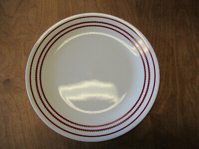 """Corelle RUBY RED Dinner Plate 10 1/4"""" White w Red Dotted Bands     4 available"""