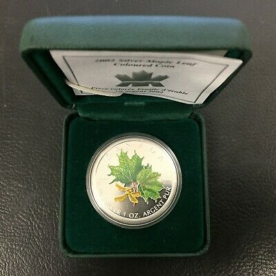 2002 Canada Silver Maple Leaf Coloured Coin 9999 Fine Royal Canadian Mint