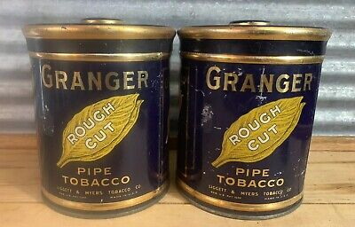 Pair Antique Vtg Granger Tin Litho Pipe Tobacco Canister W/ Pointer Dog Can Box