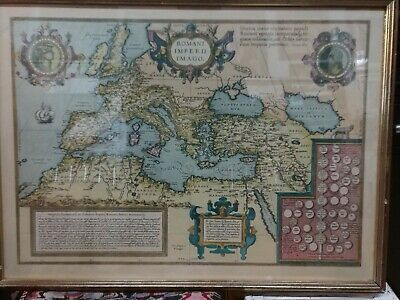 "Rare & Original 1690 Abraham Ortelius Hand Colored Map of ""Romani Imperii Imago"""