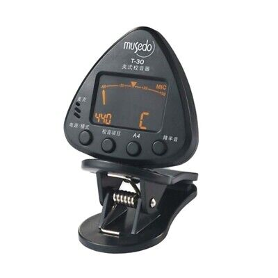 Musedo Chromatic Clip-on Tuner T-30 Rotatable LCD Display Chromatic, Guitar E4H2