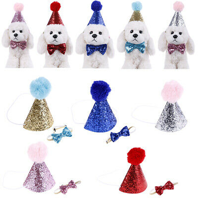 Pet cat dog happy birthday hat party crown & bow tie soft cap puppy headwear&y