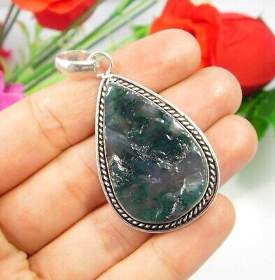 Green Moss Agate Druzy .925 Silver Plated Handmade Pendant Jewelry JC3702