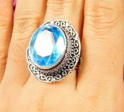 A++ Lovely Swiss Blue Topaz Silver Hand Carving Jewelry Ring Size 7.75 JC3065