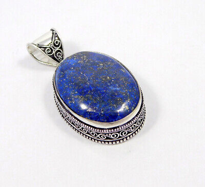 Lapis .925 Silver Plated Carving Pendant Jewelry JC7469