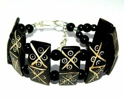 Graceful Fashion Painted Design Bone Bracelets With Chain Antique Jewelry B89