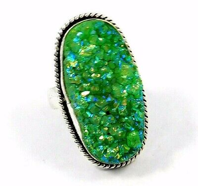 Charming Green Crystal Druzy Silver Designer Jewelry Ring Size 8 JC9074