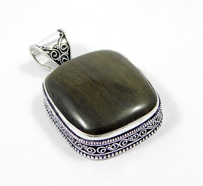 Silver Eye Obsidian .925 Silver Plated Carving Pendant Jewelry JC7396