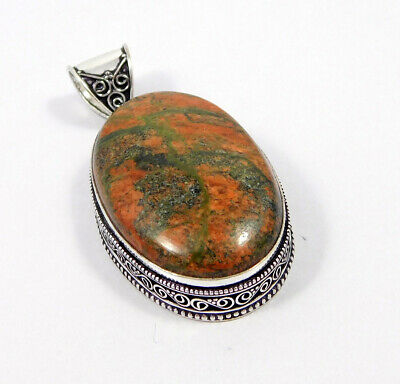 Unakite .925 Silver Plated Carving Pendant Jewelry JC7464