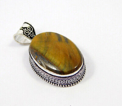 Tiger's Eye .925 Silver Plated Carving Pendant Jewelry JC7405