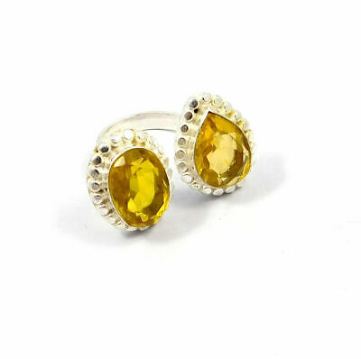 Charming Citrine Quartz Silver Designer Jewelry Ring Size 8 JC9076