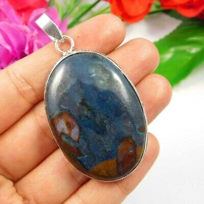 Blue Rock Calcy .925 Silver Plated Handmade Pendant Jewelry JC3806