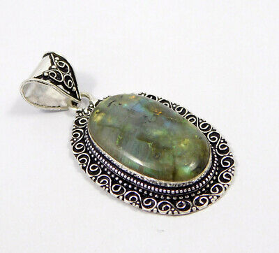 Labradorite .925 Silver Plated Carving Pendant Jewelry JC7418