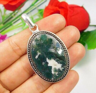 Green Moss Agate Druzy .925 Silver Plated Handmade Pendant Jewelry JC3701