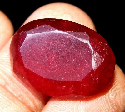 Lab-created Faceted Dyed Ruby Gemstone 27 ct 26x20mm F964