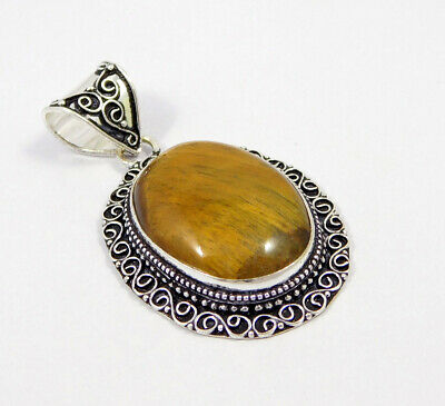 Tiger's Eye .925 Silver Plated Carving Pendant Jewelry JC7408