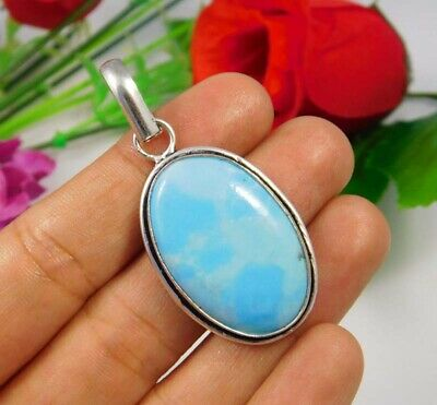 Heated Larimar .925 Silver Plated Handmade Pendant Jewelry JC3696