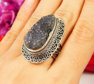 Lovely Black Druzy Silver Hand Carving Jewelry Ring Size 7.75 JC3062