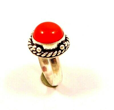 Charming Coral Silver Designer Jewelry Ring Size 8 JC6369