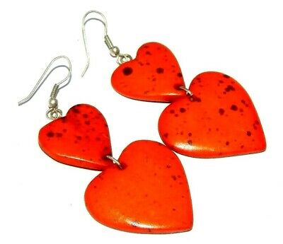 Graceful Fashion Orange Colour Painted Design Bone Earrings Antique Jewelry J304
