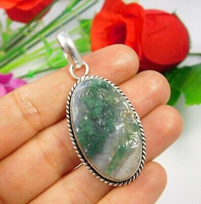 Green Moss Agate Druzy .925 Silver Plated Handmade Pendant Jewelry JC3710