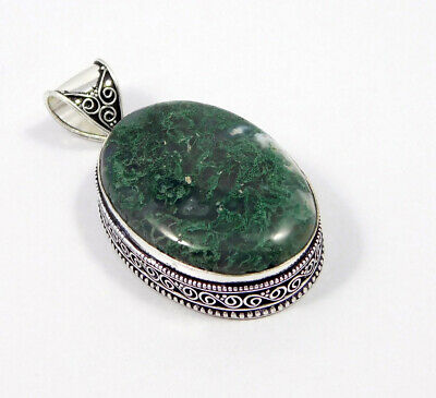 Green Moss Agate .925 Silver Plated Carving Pendant Jewelry JC7480