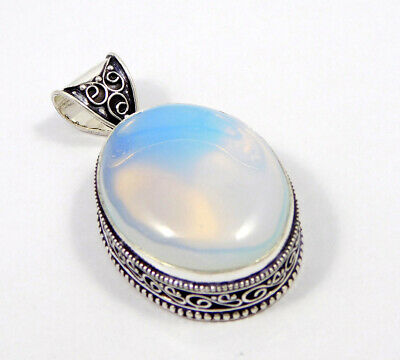 Opalite Opal .925 Silver Plated Carving Pendant Jewelry JC7423