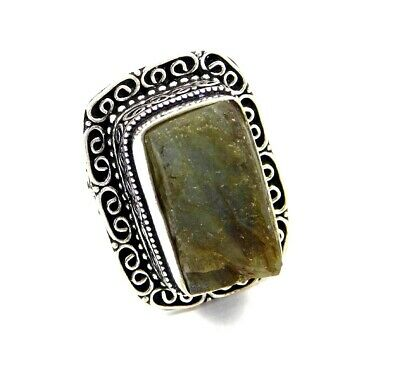 Lovely Labradorite Druzy Silver Hand Carving Jewelry Ring Size 8 JC3260