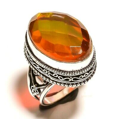 Charming Mystic Topaz Quartz Silver Carving Jewelry Ring Size 8.50 JA647