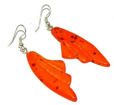 Graceful Fashion Orange Colour Painted Design Bone Earrings Antique Jewelry J350