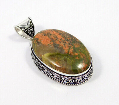 Unakite .925 Silver Plated Carving Pendant Jewelry JC7452