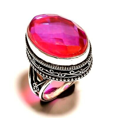 Charming Mystic Topaz Quartz Silver Carving Jewelry Ring Size 7.50 JA645