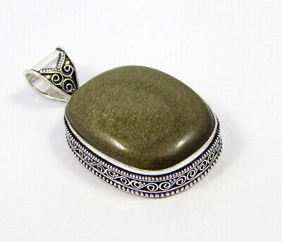 Silver Eye Obsidian .925 Silver Plated Carving Pendant Jewelry JC7391