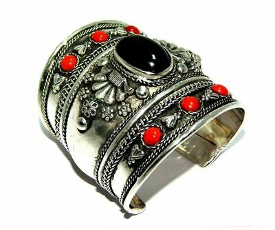 Treated Onyx & Coral Great Designer Tibetan Silver Cuff Fashion Jewelry C282