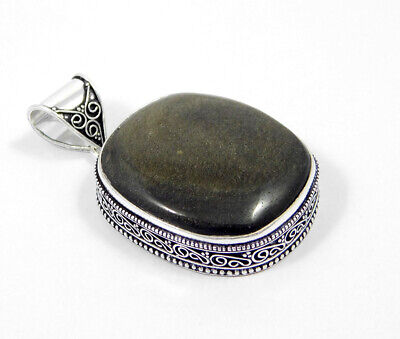 Silver Eye Obsidian .925 Silver Plated Carving Pendant Jewelry JC7395