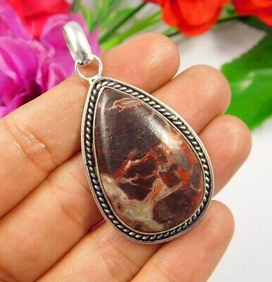 Crazy Lace Agate .925 Silver Plated Handmade Pendant Jewelry JC3817
