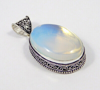 Opalite Opal .925 Silver Plated Carving Pendant Jewelry JC7424