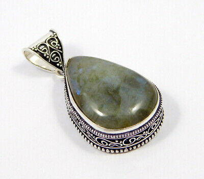 Labradorite .925 Silver Plated Carving Pendant Jewelry JC7419