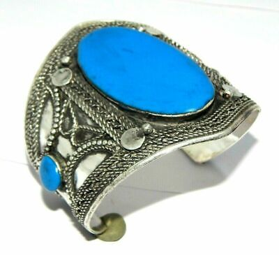 Treated Sky Blue Stone Great Designer Tibetan Silver Cuff Fashion Jewelry C208