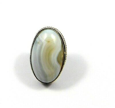 Charming Botswana Agate Silver Carving Jewelry Ring Size 8.50 JT2377