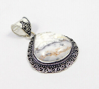 Dendrite Opal .925 Silver Plated Carving Pendant Jewelry JC7494